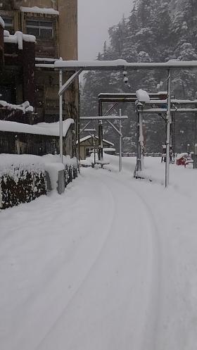 欅平も雪景色です。